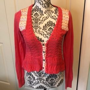 Free People Crocheted Pink Crop Sweater S V Neck